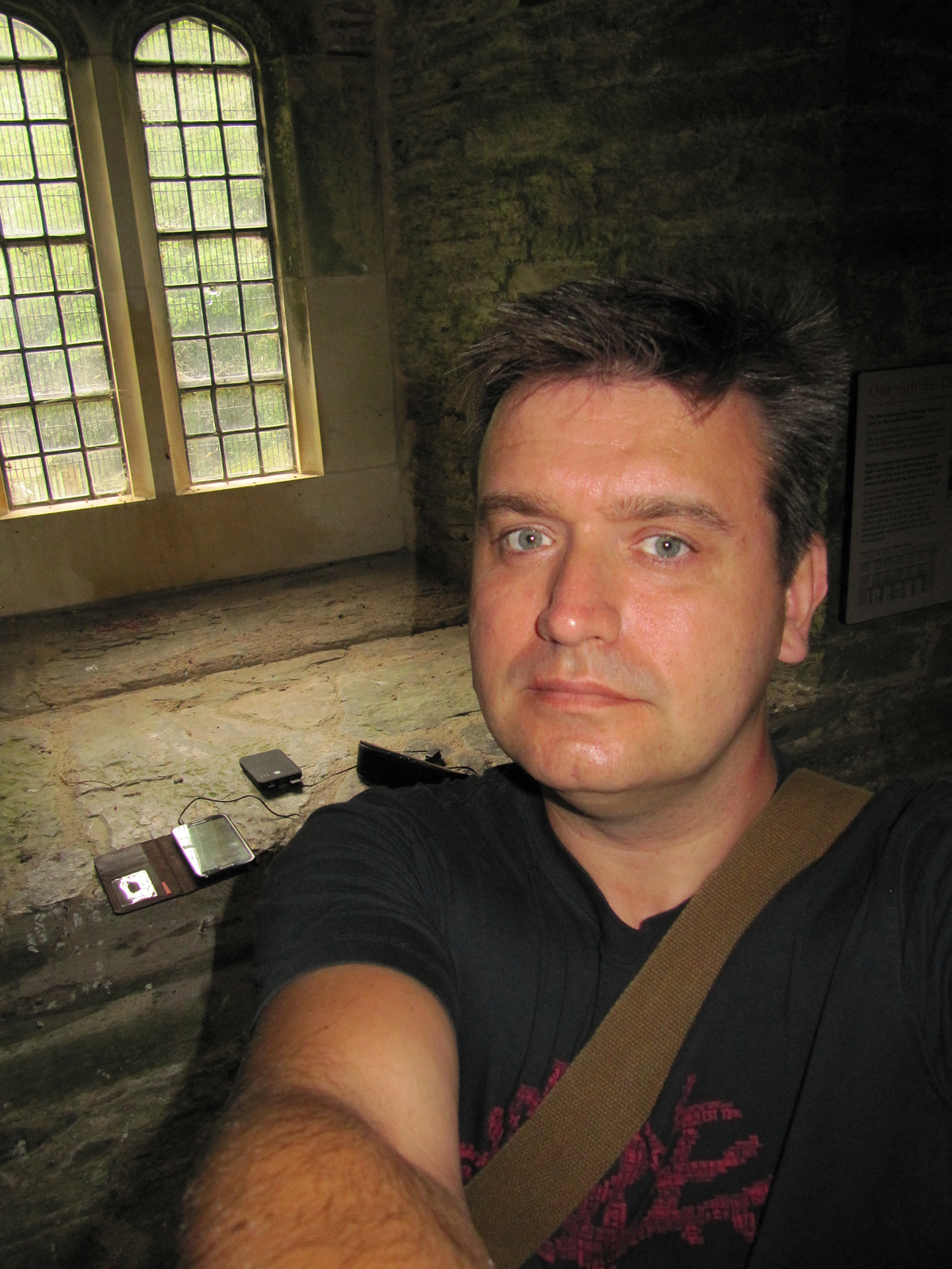 Steven with EchoVox set up and ready in the guard room at Berry Pomeroy Castle.